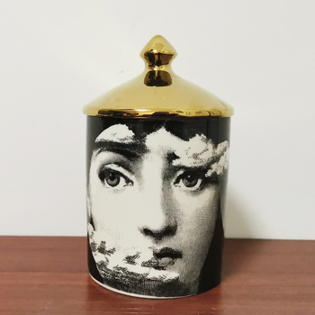 Lady Face Candle Holder Human Face Jar Candelabra Retro Storage Bin Ceramic Cafts Home Decoration Jewerlly Storage Box 7