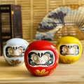 4 インチ日本セラミックだるま人形幸運チャーム幸運飾り風水禅クラフト貯金箱卓上装飾のギフト