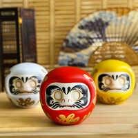 4 pouces japonais en céramique Daruma poupée porte-bonheur Fortune ornement Fengshui Zen artisanat tirelire maison table décoration cadeaux