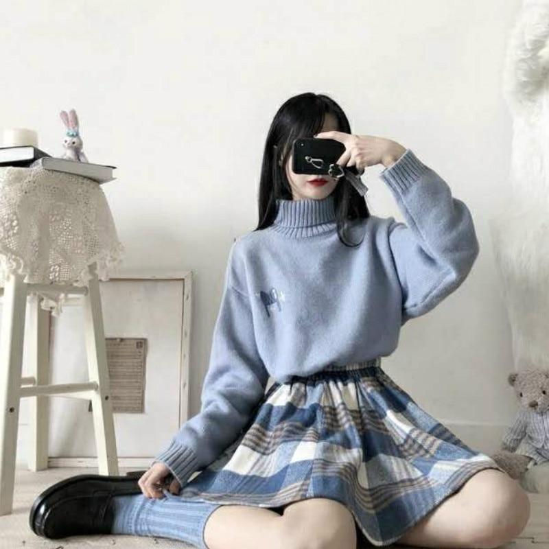 K-pop Baby Blue $ Pink Sweater & Pleated Skirt 2 PCs Set  1