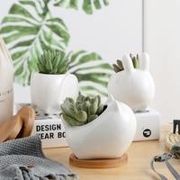 1PC White Ceramic Planter Mini Animal Flower Pot for Cactus Succulents Plants Home Garden Decoration