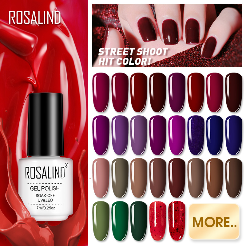 ROSALIND Hybrid Nail Gel Varnish Soak Off White Bottle UV Colors Vernis Semi Permanent Manicure For Nails Art Gel Polish
