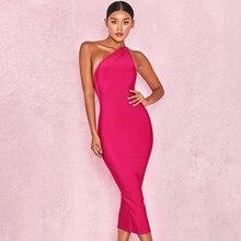 BEAUKEY-Vestido Bandage blanco sexi para mujer, ceñido Vestido rosa de un hombro con la espalda al descubierto, elástico, elegante, para fiesta, celebridad, XL, otoño