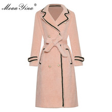 Long-Sleeve Overcoat Spring Autumn Designer Double-Breasted Women Fashion Moaayina Lace-Up