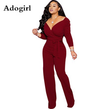 цена на Adogirl Sexy Wrap V Neck Jumpsuit Women Vintage Off Shoulder With Slash Wide Leg Pants Rompers Elegant Office Lady Overalls