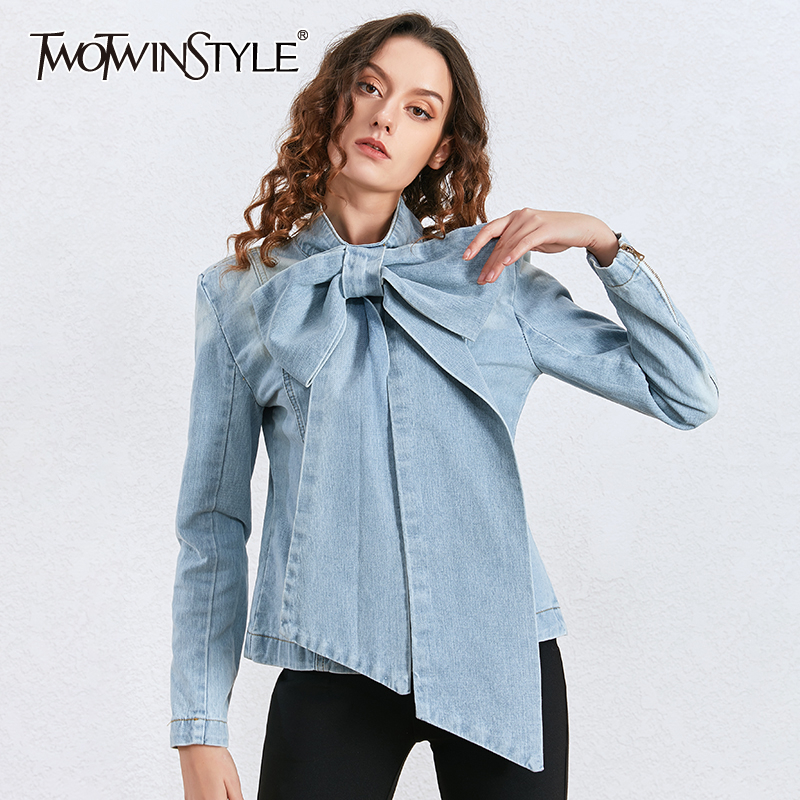 TWOTWINSTYLE Casual Bowknot Denim Women Shirts Long Sleeve High Waist Lace Up Bow Tunic Blouse Female 2020 Fashion Clothing Tide