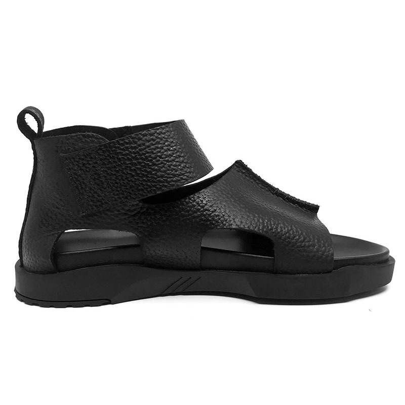 Brand 2020 Summer Real Leather Thick Platform Hook & Loop Sandals Men Korean Style High Top Open-toed Water Slides Mans Footwear