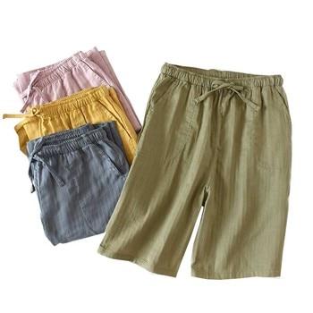 Summer New Men's Shorts Sleep Bottoms Japanese Style Full Cotton Solid Color Casual Pants Men Soft Loose  Sleep Pants Homewear