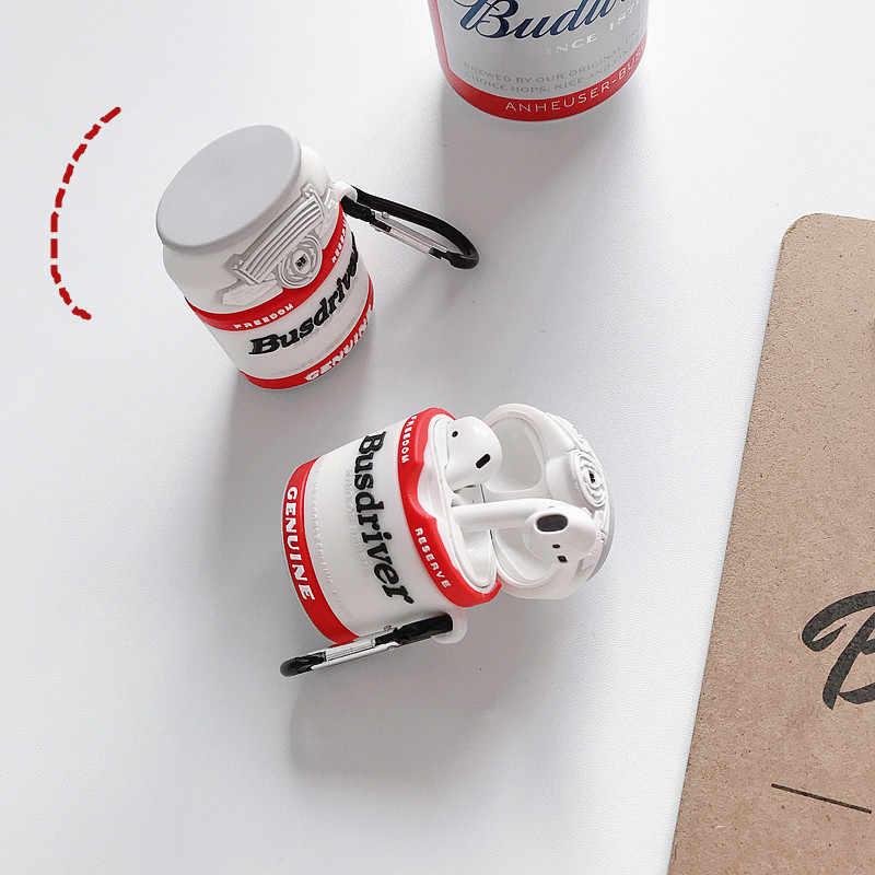 韓国のかわいいビールシリコーンイヤホン Apple Airpods 2 アクセサリー Bluetooth ヘッドセット保護カバーキーリング