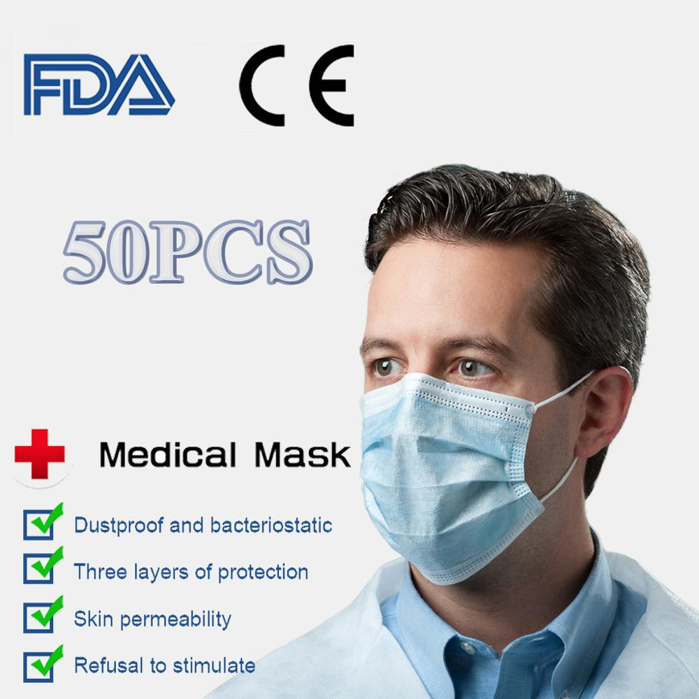 50pcs Disposable Face Mask 3 Layer Nonwoven Masks Dustproof Anti Dust Face Mouth Mask Soft Breathable Safety Protective Masks
