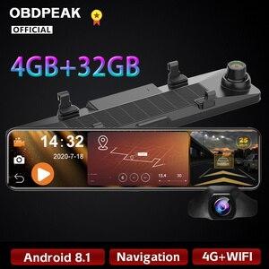 Obdpeak 4gb + 32gb câmera do carro dvr android 8.1 stream espelho retrovisor 12 ips ips ips 1080p unidade de vídeo gravador automático registrador traço cam