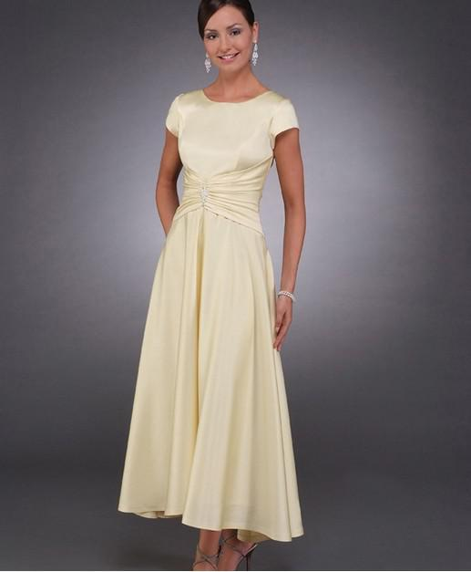 Yellow 2019 Mother Of The Bride Dresses A-line Cap Sleeves Ankle Length Plus Size Long Groom Mother Dresses For Weddings