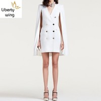 2020 New Fashion Office Ladies White Double Breasted Women Formal Party Cape Slim Fit Dress Suit Sexy V Neck Blazer