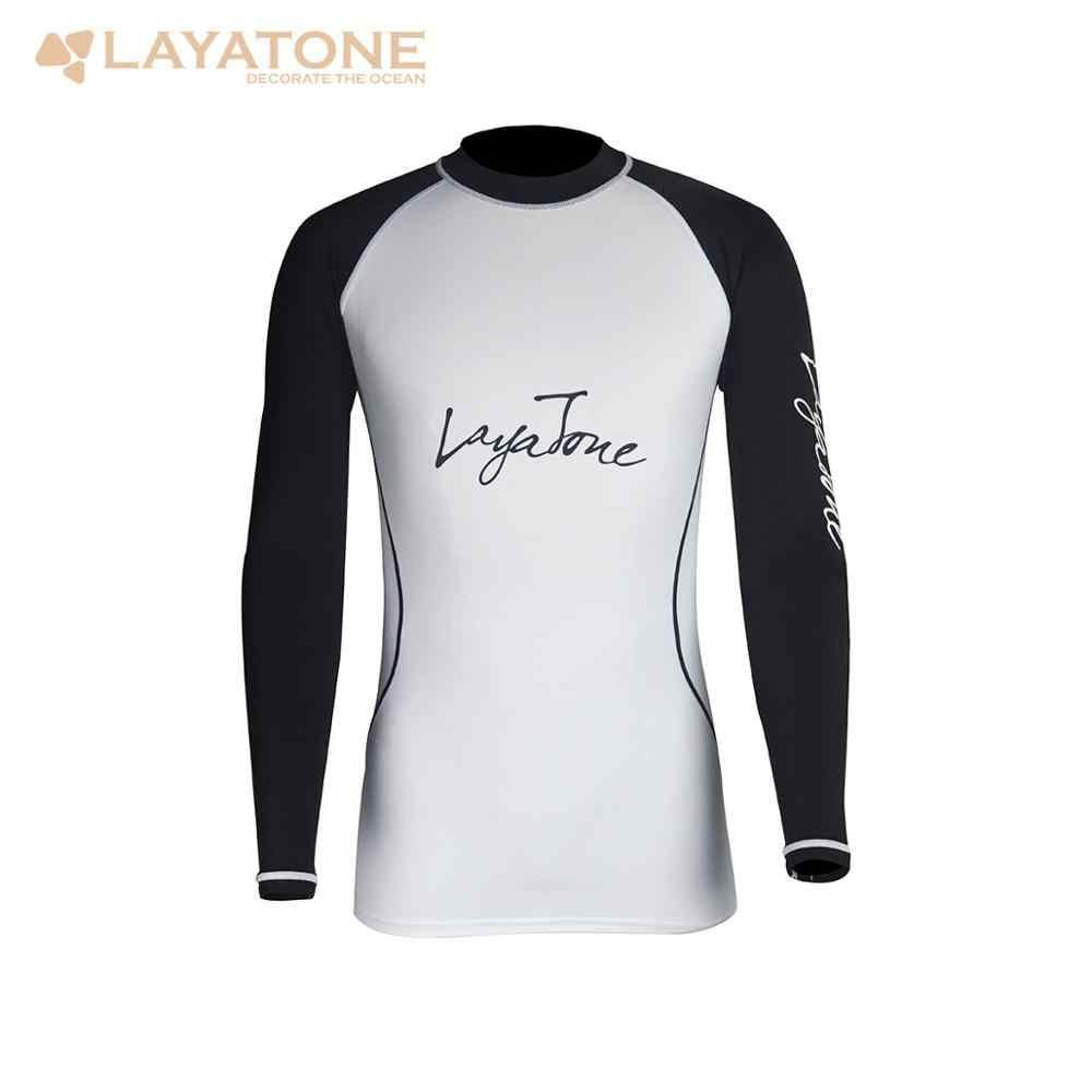 Layatone الرجال Rashguard ملابس السباحة قمصان طويلة الأكمام تصفح ملابس السباحة UV-حماية طفح الحرس العلوي UPF 50 ملابس الشاطئ لباس سباحة