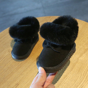 Image 3 - Claladoudou 11.5 15.5cm מותג פנו מעל חם קטיפה תינוק שלג מגפי עור אמיתי חמוד פרפר מסיבת החורף נעלי פעוטות