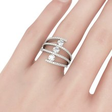 Hot Unique Silver Rose Gold Fashion Banquet Exaggerated Lady Ring Multilayer Retro Cross Zirconia Micro Wedding Bride Jewelry(China)