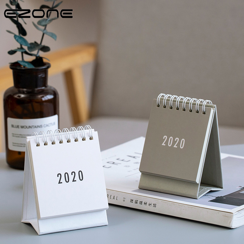 EZONE 2020 Mini Desk Calendar Printing Table Calendar Fresh Nordic Style Office School Table Calendar Sprial Loose Leaf Calendar