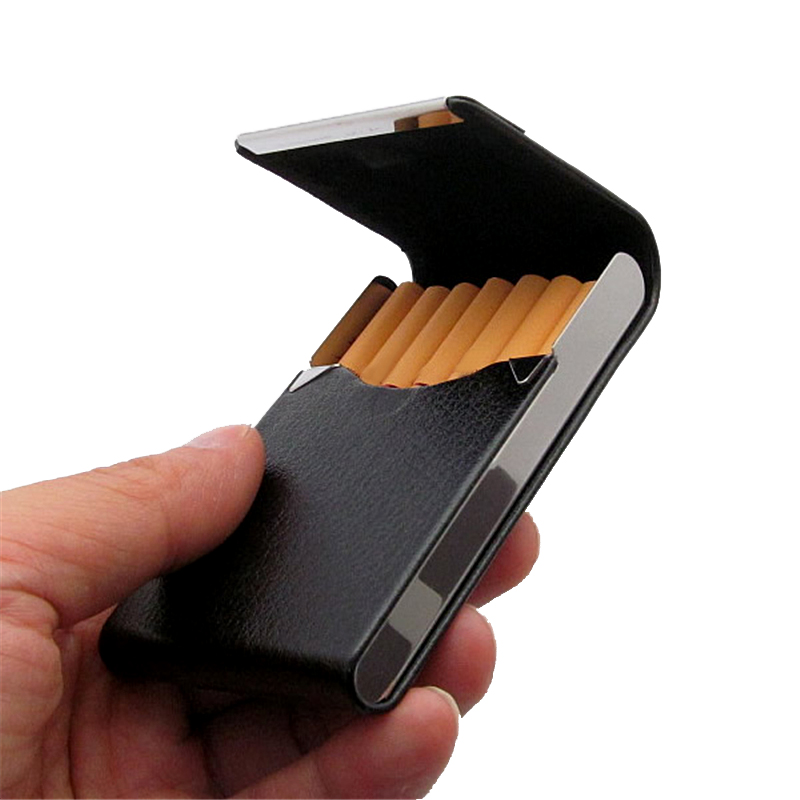 Smoker Genuine Leather Cigarettes Case Classical Metal 96*65*13mm Cigarette Or Stainless Brown Steel+pu Black Women's Box M N3J1