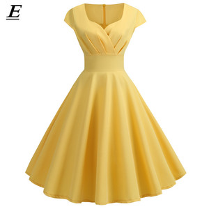 Summer Women Vintage Dress 50S 60S Short Sleeve V Neck Casual Elegant Retro Pin Up Party Midi Dresses Vestidos Robe Plus Size