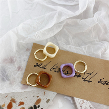 Retro kpop Chic Colorful Transparent Resin Acrylic Aesthetic Rings Morandi Color ring for Women Party Jewelry couple rings Set resin rings dried flower transparent women handmade ring charm men vintage wedding ring party jewelry romantic couple ring