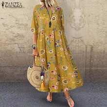 Vintage imprimé Robe Maxi femmes d'été Robe d'été ZANZEA 2021 tunique décontractée Vestidos femme demi manches Robe florale grande taille