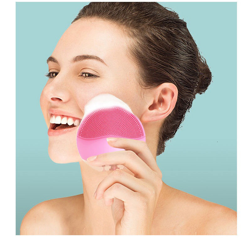 Mini USB Electric Face Facial Cleansing Brush Foreoing Silicone Sonic Cleaner Deep Pore Cleaning Waterproof Face Scrubber