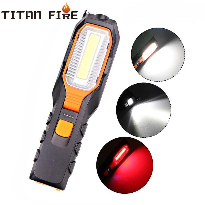 T20 livraison directe COB 4000LM lumière de travail LED USB Rechargeable Flexible lampe d'inspection magnétique lampe de poche LED d'urgence