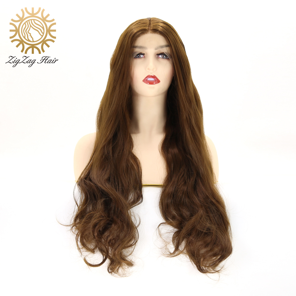 ZigZag Dark Brown Wig for White Women Synthetic Lace Front Wigs Glueless Long Natural Wavy Daily Wig Heat Resistant Fiber Hair