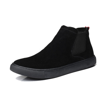 England design mens fashion chelsea boots cow suede leather shoes black slip on shoe flat