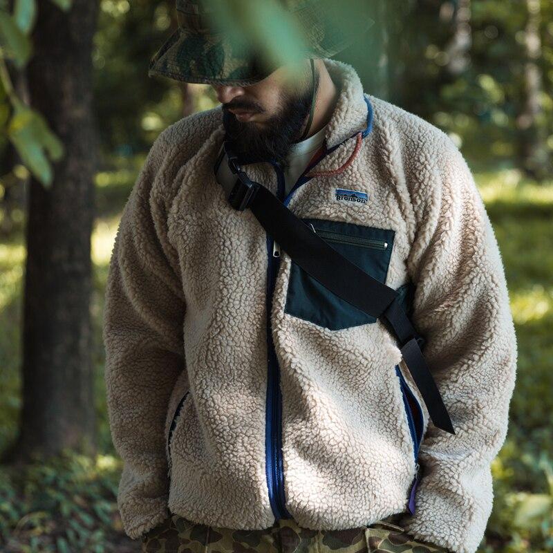 Bronson Sherpa Fleece Jacket Classic Retro 1989 Outdoor Full Zip-Up Cardigan