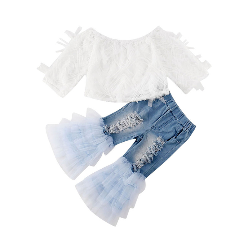 Summer Kids Baby Girls Princess Elegant Clothes Lace Off Shoulder Long Sleeve T-shirt Tops Ruffle Hole Pants Outfits