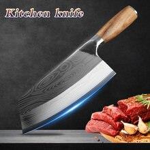 Nóż kuchenny Damascus wzór laserowy chiński nóż szefa kuchni ze stali nierdzewnej rzeźnik mięso siekanie tasak nóż krajarka do warzyw
