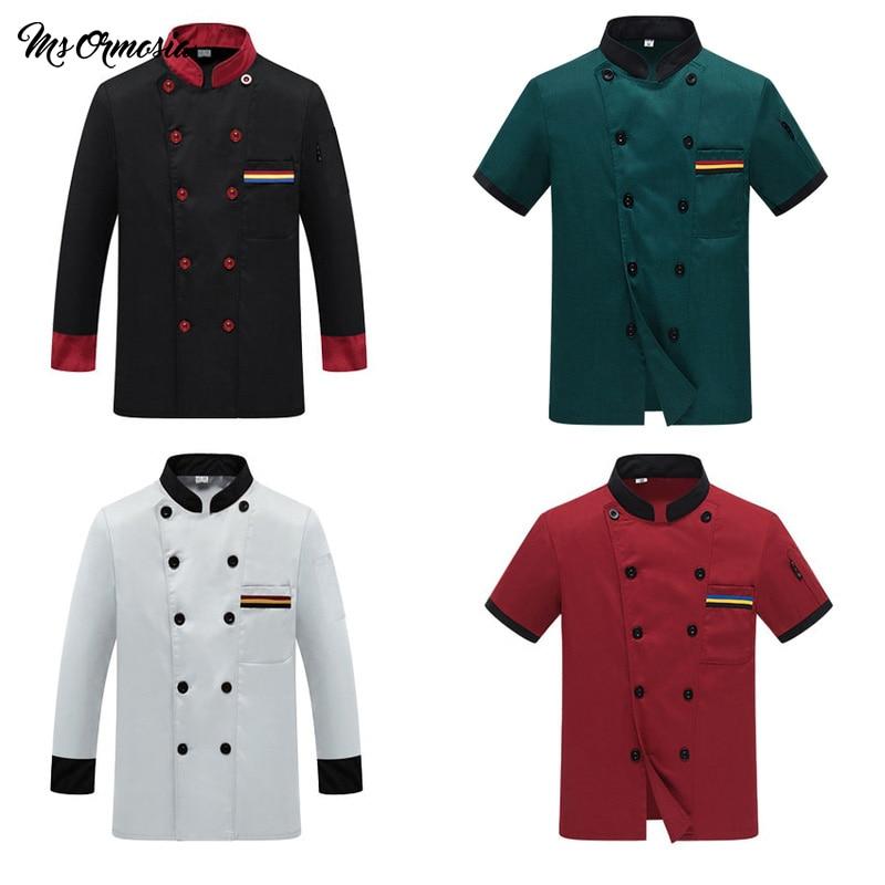 Костюм униформы шеф-повара, Воздухопроницаемый Топ для обслуживания еды с принтом логотипа на заказ, мужская рубашка с коротким рукавом для...