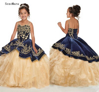 Navy Blue With Gold Embroidery little Girls Pageant Dresses Cupcake Ruffles Spaghetti Organza Flower Girl Dress Lace Up Back