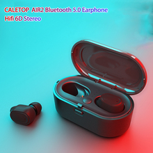 CALETOP AIR2 TWS Bluetooth 5.0 Wireless Earphone 6D Stereo Earbuds with Charging Case Mini HIFI Heavy Bass Waterproof Headsets