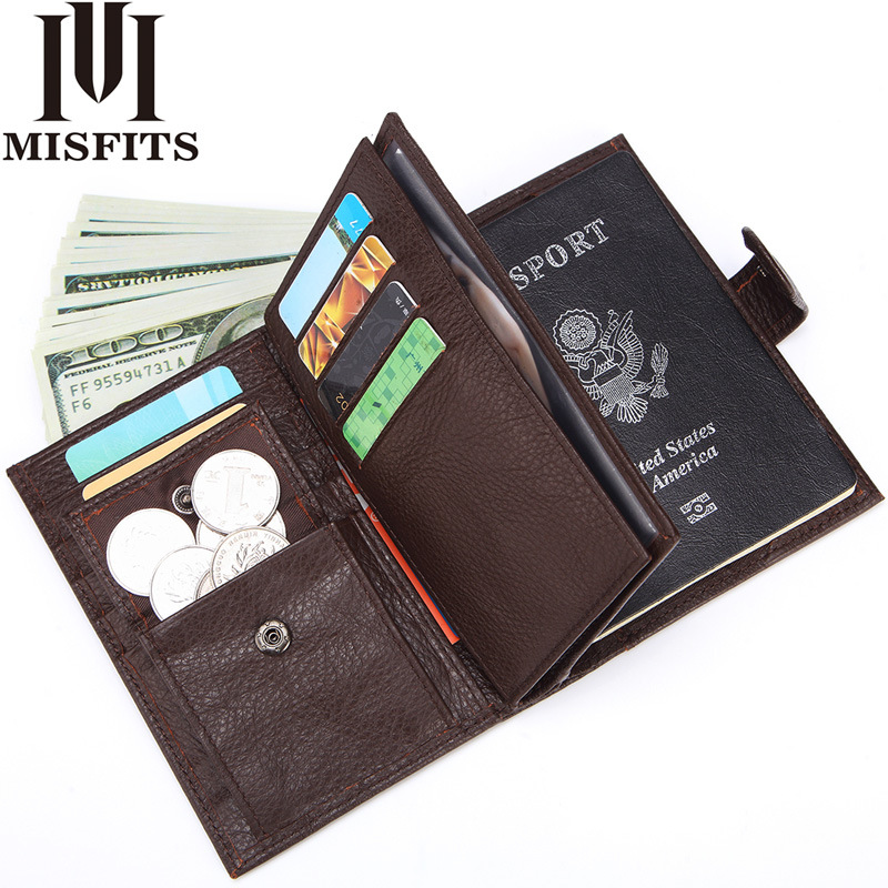 MISFITS Men Wallets Black Genuine Leather With Card Holder Coin Purse With Passport Holder Men Vintage Business Cowhide Wallet