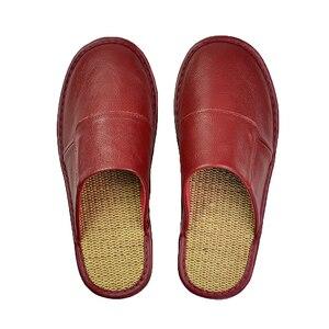 Image 4 - אמיתי פרה עור נעלי בית מקורה זוג החלקה גברים נשים בית אופנה מזדמן אחת נעלי PVC רך סוליות אביב קיץ 507