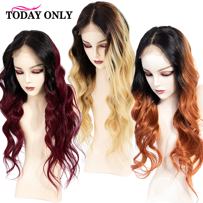 TODAYONLY Brazilian Body Wave Wig Ombre Human Hair Wig 13x4 Short Human Hair Wigs For Black Women Blonde Lace Front Wig Remy