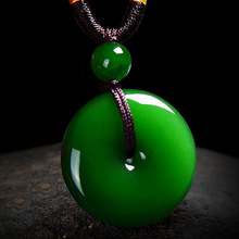Jewelry Necklace Jade-Pendant-Pendant Natural Green Hand-Carved Women Spinach