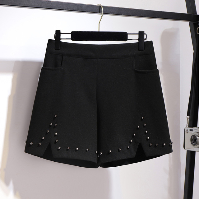 2019 autumn winter plus size shorts for women large loose elastic waist wide leg thick work wear shorts black 4XL 5XL 6XL 7XL 2