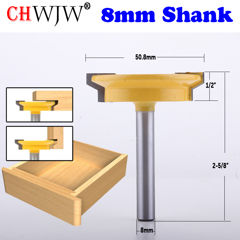 CHWJW 1PC 8mm Shank Straight Rail & Stile Router Bit Woodworking Chisel Cutter Tool For Woodworking Tools