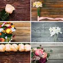 Vinyl Custom Photography Backdrops  Flower and Wooden Planks Theme Background 191030BV-002