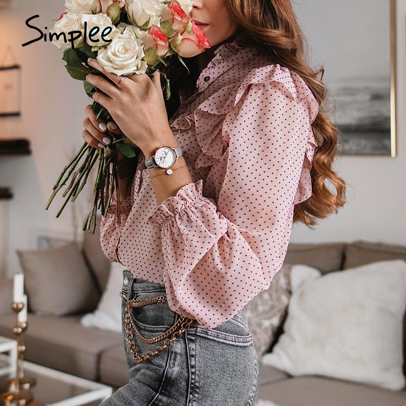 Simplee Vintage Ruffled Women Blouse Shirt Elegant Dot Print Buttons Female Tops Shirts Autumn Spring Office Ladies Work Blouses