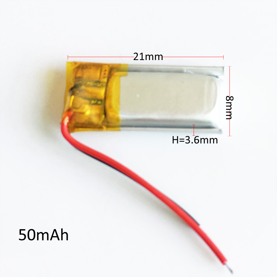 <font><b>3.7v</b></font> <font><b>50mAh</b></font> Lithium Polymer LiPo Rechargeable <font><b>Battery</b></font> Li cells For DIY Mp3 bluetooth Recorder headphone headset 360821 image