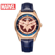 Avengers Captain Marvel Ladies Luxury Fashion Trendy Quartz 5ATM Waterproof Watch Stainless Steel Genuine Leather Clock Gift New(China)