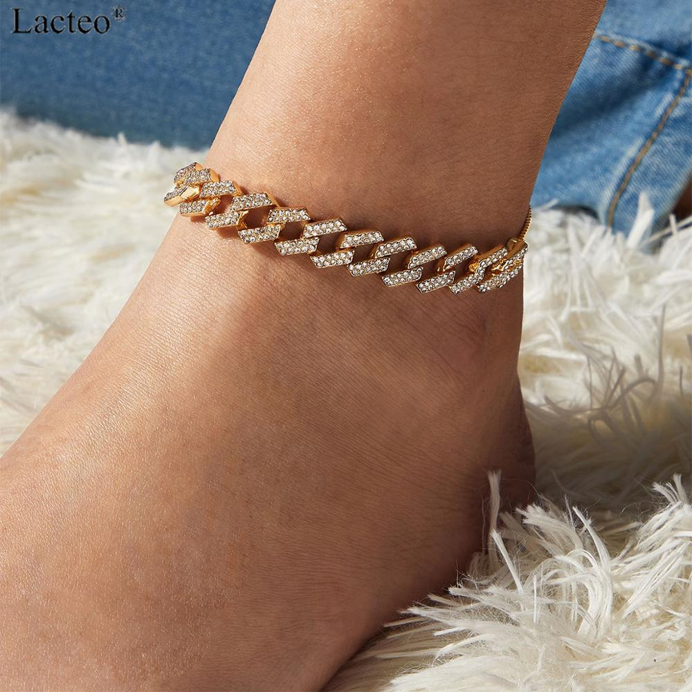 Lacteo 4 Color Sexy Shiny Crystal Anklet Adjustable for Women 2020 Summer Beach On Foot Barefoot Charm Anklet Jewelry Gifts