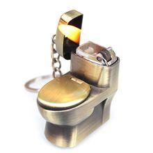 Мини креативная Бутановая Зажигалка Милая имитация флеш Туалет модель огонь стартер Брелок Кольцо Коллекция шалость игрушка подарок D08D