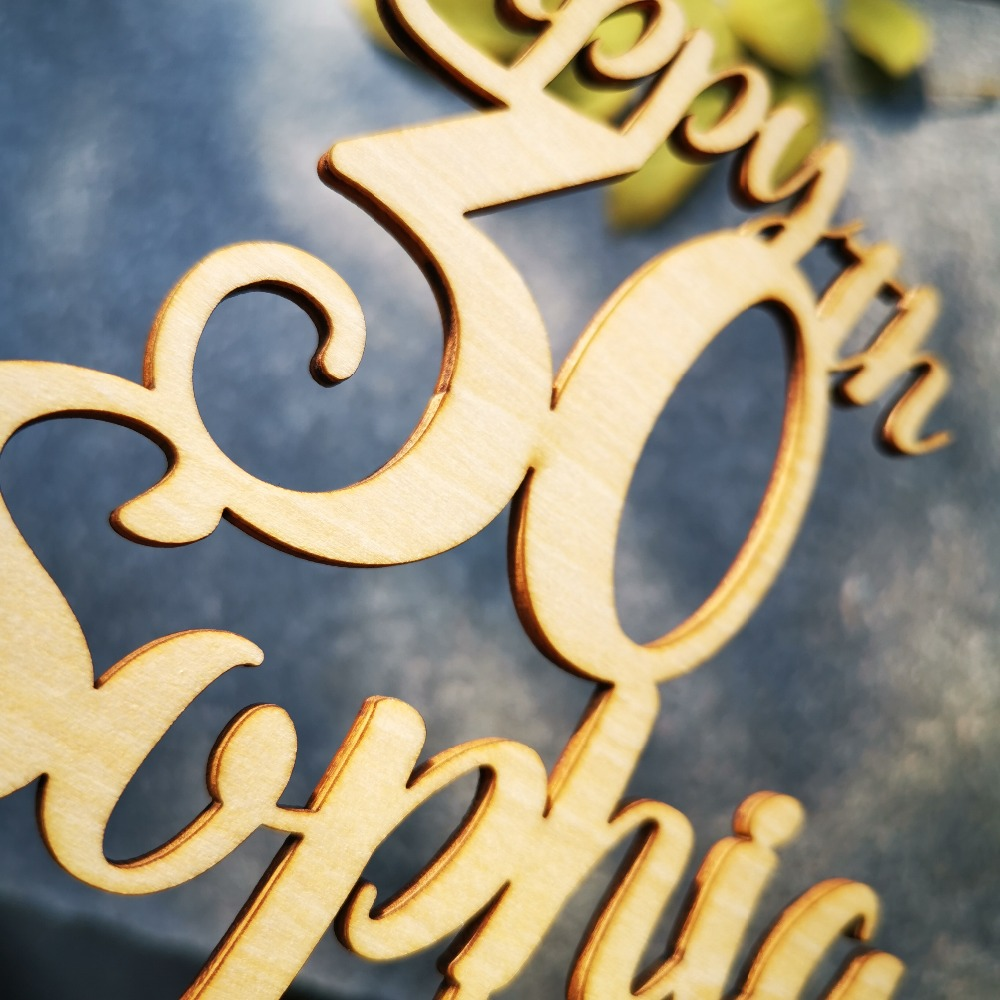 Personalised Custom Name age wood Cake Toppers Happy , Custom color and size Stylish Birthday wooden decorative cake topper. (3)