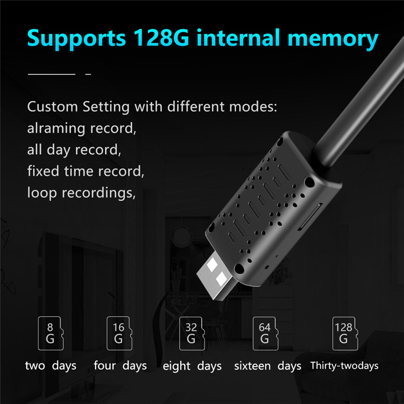 Image 4 - New Mini USB Wifi IP Camera Full HD 1080P P2P CCTV Camera With SD card slot Cloud Storage Smart Surveillance Motion Detect Alarm-in Surveillance Cameras from Security & Protection