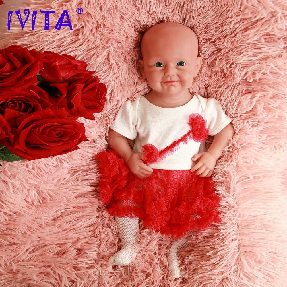 Oyuncaklar ve Hobi Ürünleri'ten Bebekler'de IVITA WG2011 48cm (19 inç) 4.46KG Tam Vücut Silikon Canlı Sevimli gülümseme Gözler Açacağı Yeniden Doğmuş Bebek Bebek Oyuncak ile Kızlar için Giysi'da  Grup 1